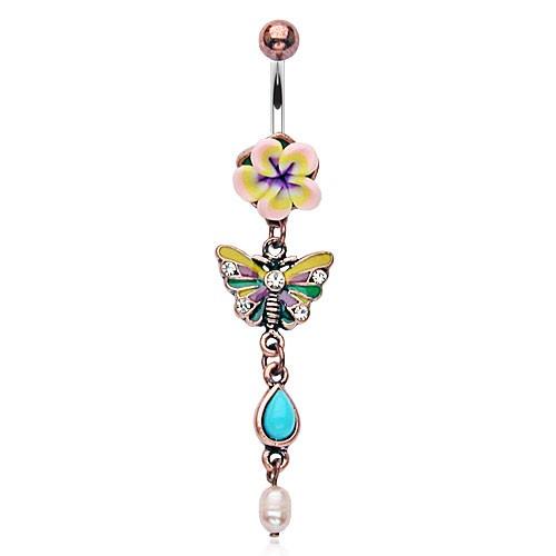 Fimo Blume Schmetterling Bauchnabelpiercing