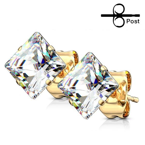 Gold Ohrstecker Kristall