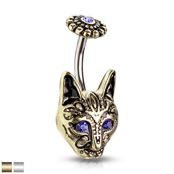 blaue Kristallaugen Tribal Katze mit blauer Kristallblume oben Bauchnabelpiercing