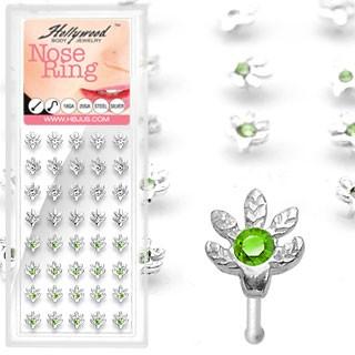 40 Stück Marihuana Nasenpiercings 925 Sterling Silber