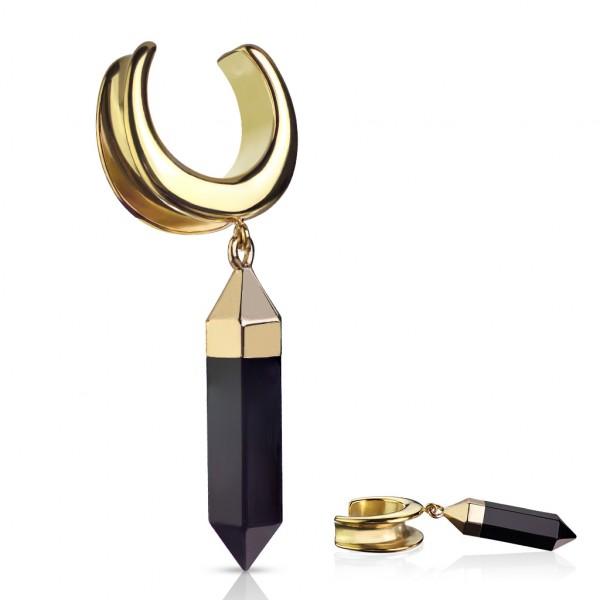 Saddle Spreader mit syntaktischem Onyx hängend PVD Gold