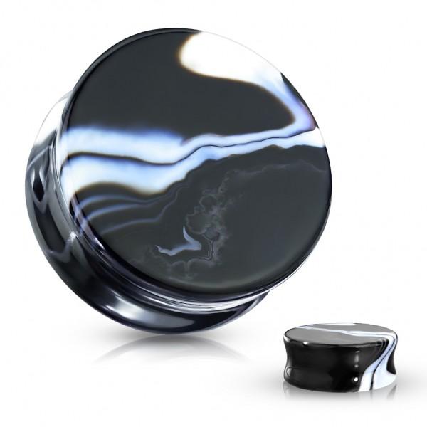 Achat Naturstein Flesh Plug schwarz mit weißer Marmorierung