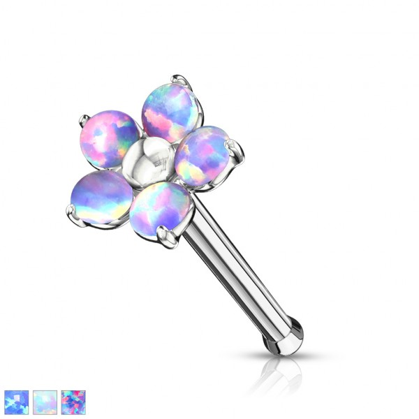 Blume mit 5 Opalblüten Nasenpiercing