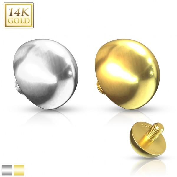 Flache Kugel Dermal Anchor Aufsatz 14 Karat Gold