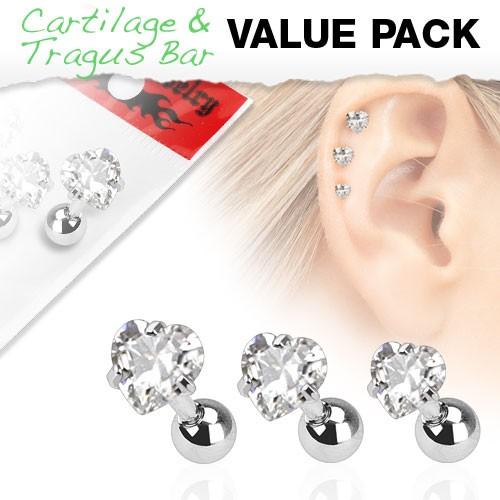 3er Pack Zirkonia Cartilage Tragus Piercing Herz Zirkonia