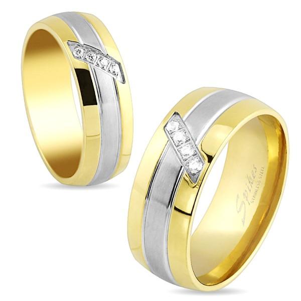 Ring Edelsteinbesetzt gold silber Edelstahl
