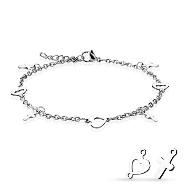 Herz Kreuz 316L Armband Fußkette