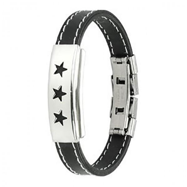 Dreifach Sterne Ring 316L Chirurgenstahl - Plate Stich Betonung Gummibänder Armband