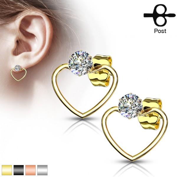 ein Paar Ohrringe mit runden Kristallen, in Herzform aus 316L rostfreiem Stahl