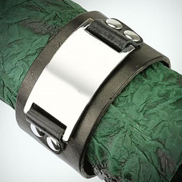schwarzes Leder Schnalle Plate Armband mit verstellbar Schnappverschluss