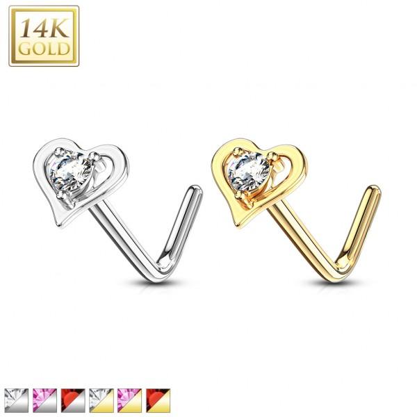 Herz Nasenpiercing mit rundem Kristall hohles Herz 585 Echtgold 14 Karat L-Form