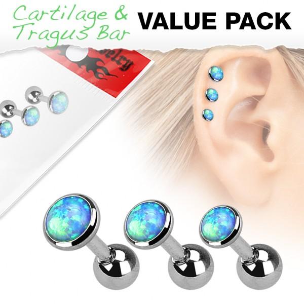 3er Pack Zirkonia Cartilage Tragus Piercing Opal