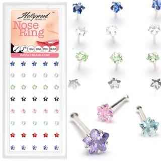 40 Stück Blume Nasenpiercings 925 Sterling Silber