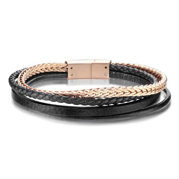 Beste Qualität, mehrfach Bänder aus schwarzem Mikrofaser Leder und Rosegoldenem rostfreiem Stahl, un