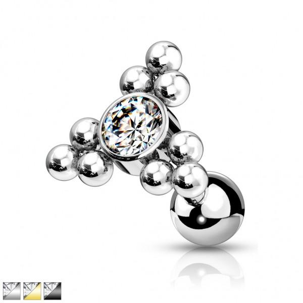 Kristall mit Kugeln Dreieck Chirurgenstahl 316L Cartilage Helix Tragus Stud