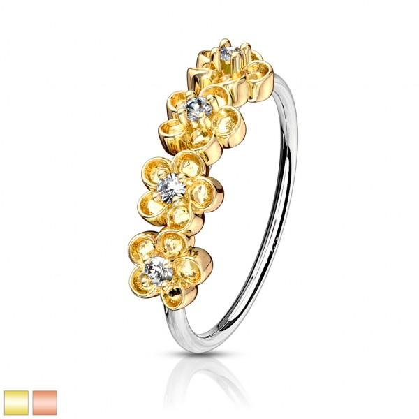 Kristall Blume Biegbarer Nasen- und Helix Ring