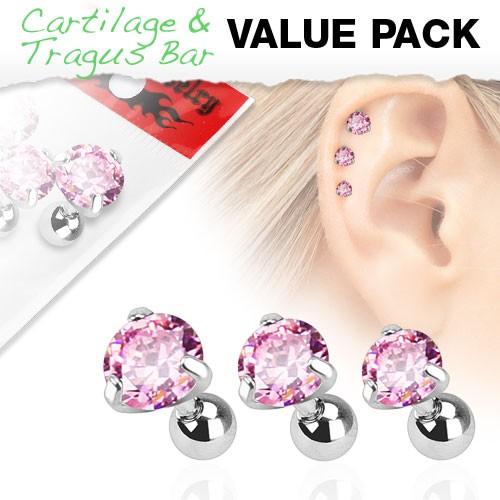 3er Pack Zirkonia Cartilage Tragus Piercing Rund Pink