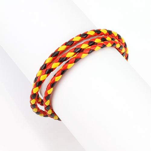 Armband Rot Schwarz Gelb geflochten 3-fach gewickelt