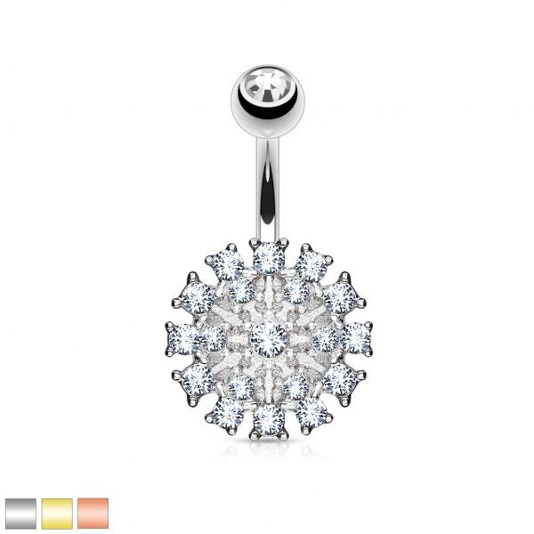 Diamant Blume Bauchnabelpiercing 316L Stahl