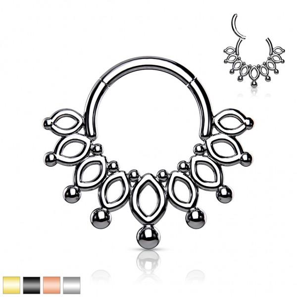 Krone Segment Hoop Ring Scharnier Hohe Qualität 316L Chirurgenstahl Gold Schwarz
