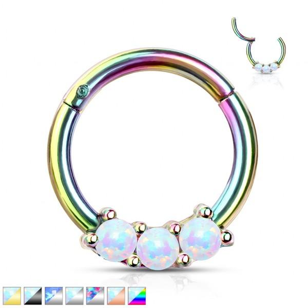 Opal Septum Clicker 316L Hoop Ring Ohrpiercing Nasenpiercing