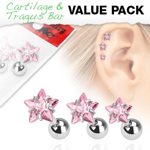 3er Pack Zirkonia Cartilage Tragus Piercing Stern pink