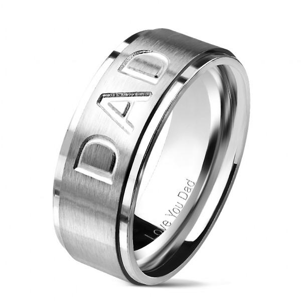 """""""Love you Dad"""" auf silbernem Ring mit Rand rostfreies Stahl"""