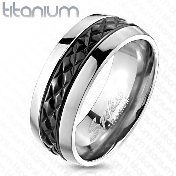 Ring schwarz Riffelung Titan
