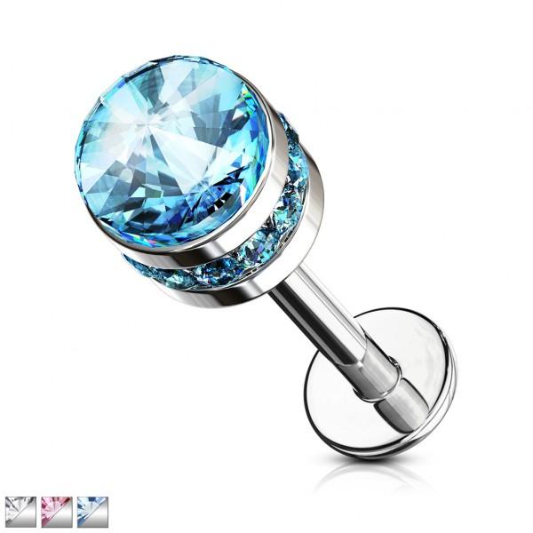 Kristall flach Labret Monroe Ohrpiercing Innengewinde
