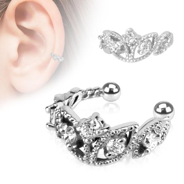 Krone Helix Ohrring Fake Piercing Stecker Ear Cuff