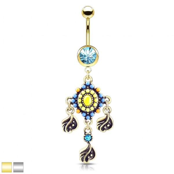Tribal Perle mit filigranen Kristallen hängend Bauchnabelpiercing