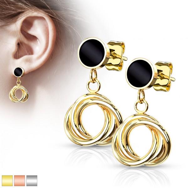 ein Paar runde, schwarze Emaille, 316L Chirurgenstahl Ohrringe mit mehrfach verflochtenen 10mm Kreis