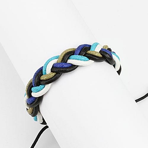 Lederarmband Blau Töne geflochten verstellbarer Verschluss