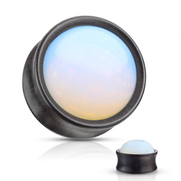 Opal Stein vorne Double Flared Ebenholz Sattel Plug