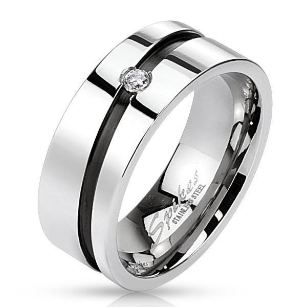 Ring, schwarze Linie mit Kristallstein Zirkonia Edelstahl
