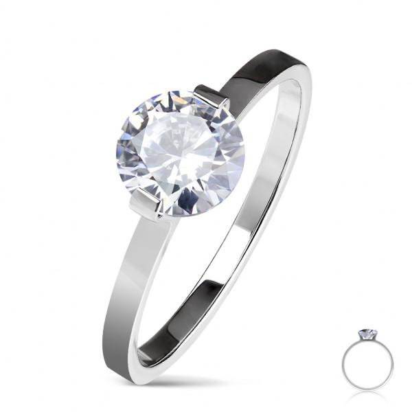 Ring silber Kristall Verlobungsring Edelstahl