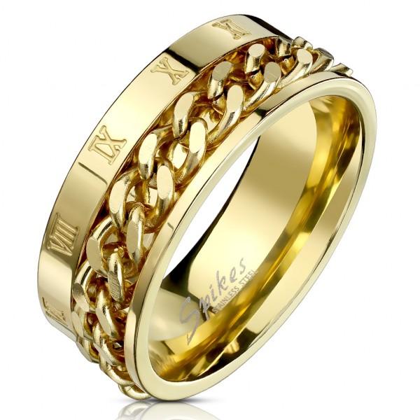 Ring Römische Zahlen Kette Gold Edelstahl