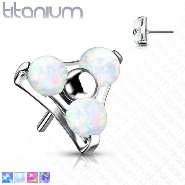 3 x Opal Dreieck Titan Aufsatz für Labret Dermal Barbell Hufeisen Threadless Push In Top Ball Pierci