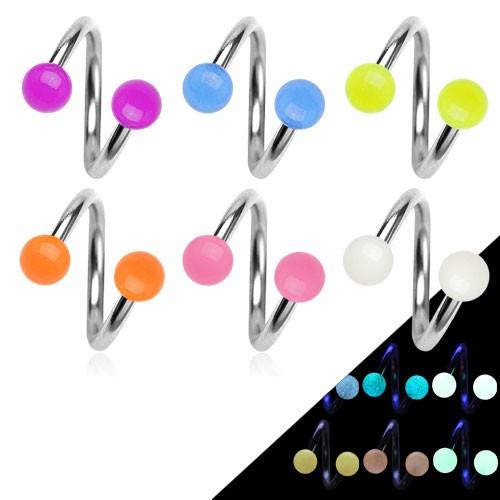 Twister Glow in the Dark Hufeisen Piercing