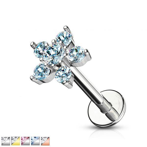 Blume aus 6 Kristallen Innengewinde Labret Monroe Ohrpiercing