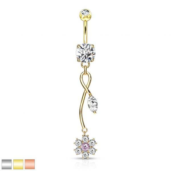 Kristallblume mit pinkem Kirstall in der Mitte Marquise Kristalle mit hängendem Blatt Bauchnabelpier