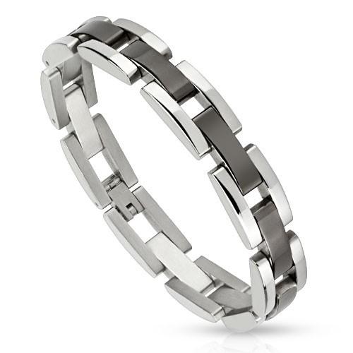 Viereck Schwarz plattiert Mitte Kettenglieder Edelstahl Armband