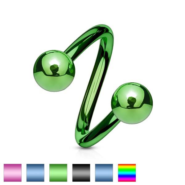 Gedrehte Kugeln farbig Hufeisen Piercing