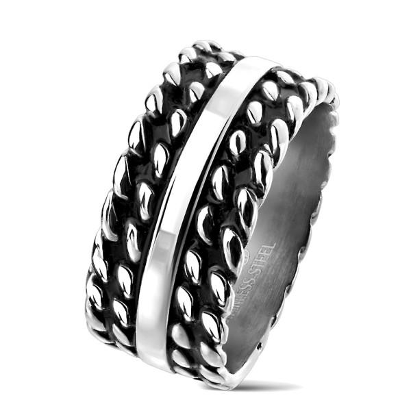 Ring silber glänzend, Ketten schwarz Edelstahl
