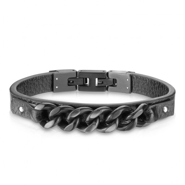 Beste Qualität, flaches, schwarzes Mikrofaser Leder und mattiertes schwarzes rostfreier Stahl, Armba