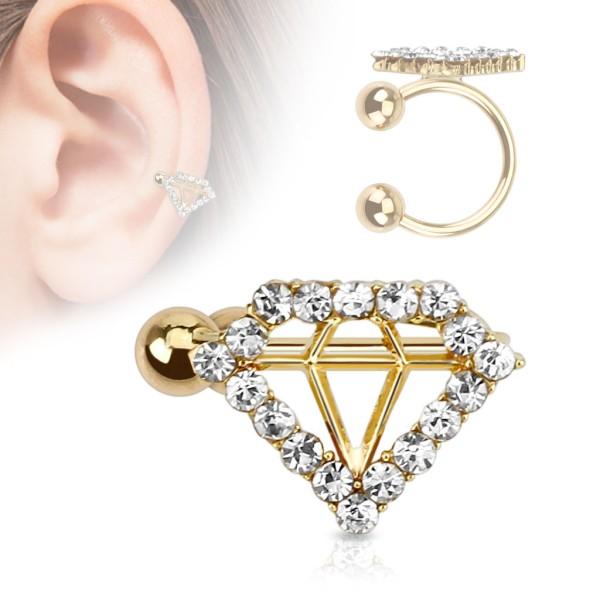 Diamant Gold Cartilage Tragus Piercing Fake Piercing