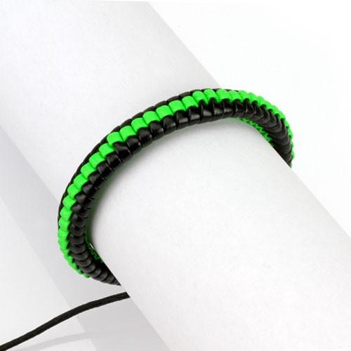 Lederarmband Grün Schwarz geflochten verstellbarer Verschluss