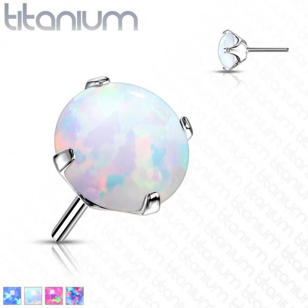 Opal Kugel Titan Aufsatz für Labret Dermal Barbell Hufeisen Threadless Push In Top Ball Piercing
