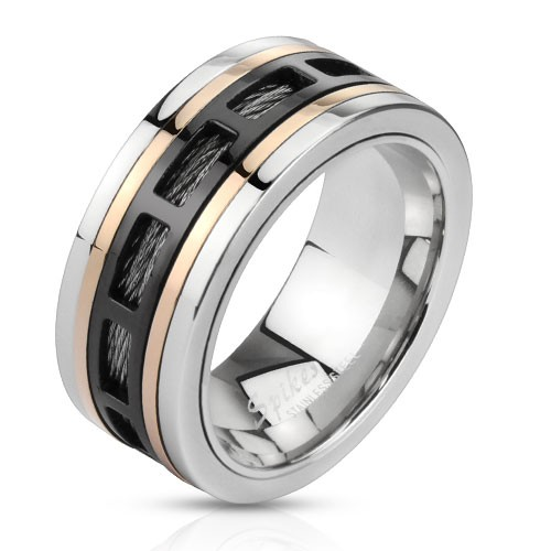 Ring dreitönig Aussparung rechteckig Draht schwarz Edelstahl