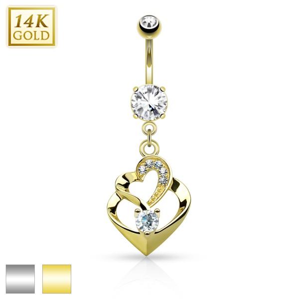 Doppelherz Zirkonia Bauchnabelpiercing 14 Karat Gold